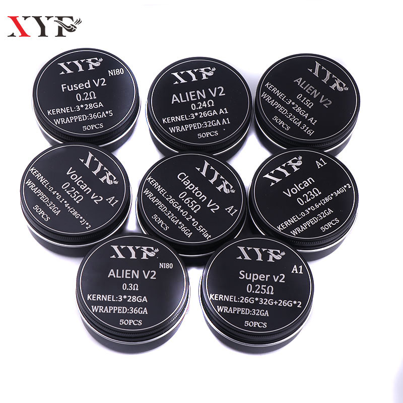 XYF 50/100pcs Clapton Coil Alien V2  Wire Heating Wire For RDA RBA Rebuildable Atomizer Coil E-Cigarette Vaporizer Coils Wire