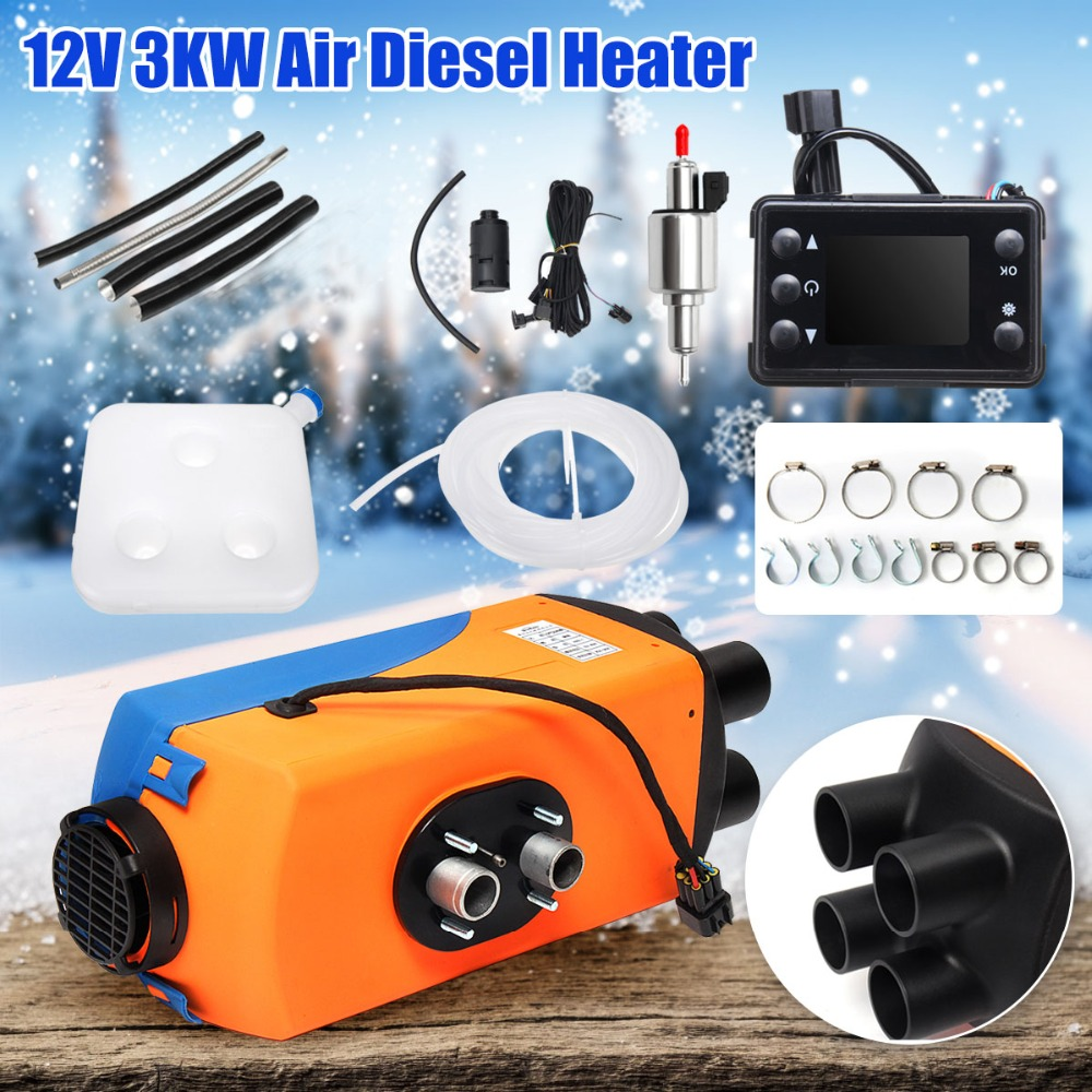 shewt Car Heater,12V//24V 5KW Air Diesel Heater LCD Monitor Thermostat Parking Fan Heater Defroster with Remote Controller for Car//Motor-Home//Boat//Bus