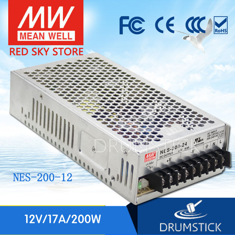 MEAN WELL NES-200-12 12V 17A meanwell NES-200 12V 204W Single Output Switching Power Supply [nc a] mean well original nes 200 36 36v 5 9a meanwell nes 200 36v 212 4w single output switching power supply