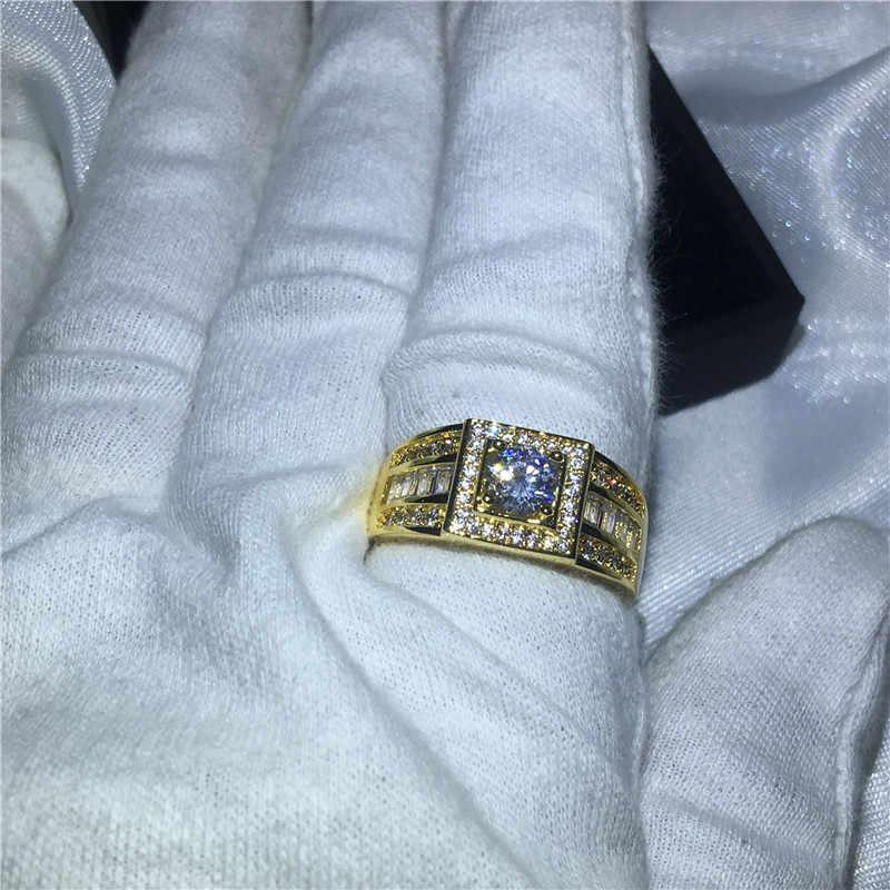 Solitaire ชายสีเหลืองทองแหวน 5 มม.AAAAA zircon CZ แหวนหมั้นแหวนแฟชั่นผู้ชายเครื่องประดับ