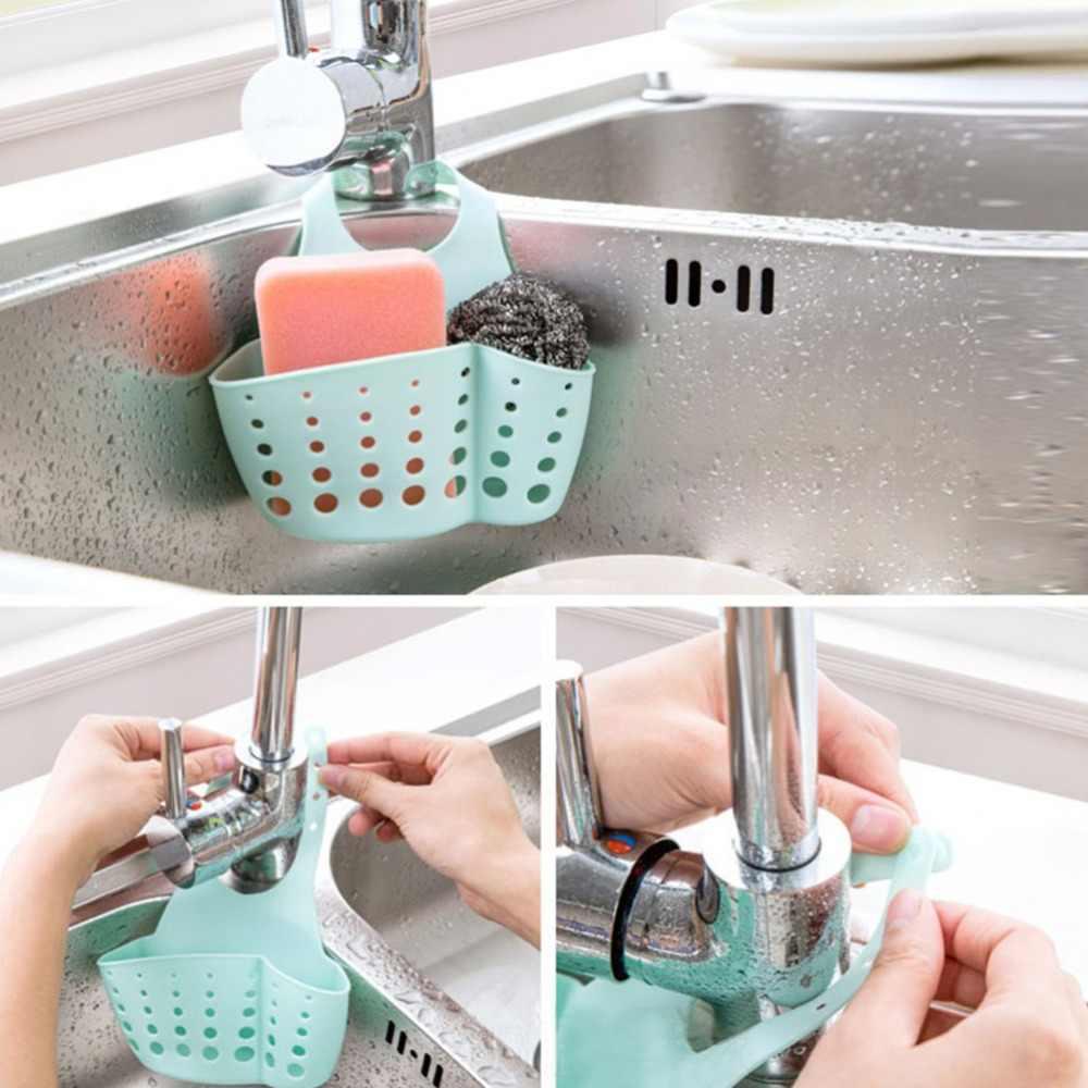 1PCS מטבח כיור אמבטיה ספוג תליית PVC מדפי מדף ניקוז ברז אחסון דלי מדפים 4 צבעים