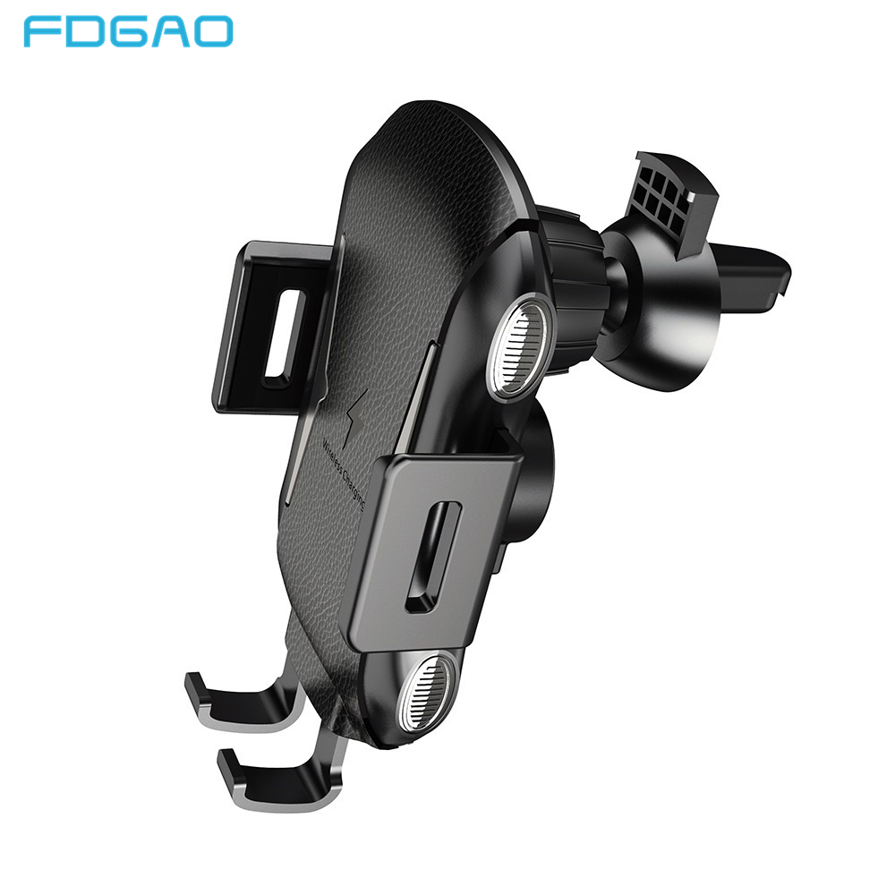 FDGAO Automatic Clamping 10W Qi Wireless Car Charger For iPhone XS Max XR X 8 Samsung S9 S8 S7 Note 9 8 USB Fast Charging Holder
