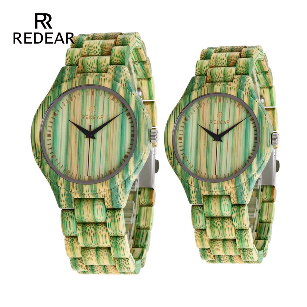 REDEAR Lover's Watches Colorful Bamboo Green Lady Watch for Woman Bamboo Band Curren Watches Men's Gift