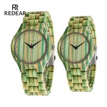 REDEAR 애인 시계 녹색 대나무 우드 시계 대나무 밴드 석영 시계 선물로 OEM Dropshipping 동의