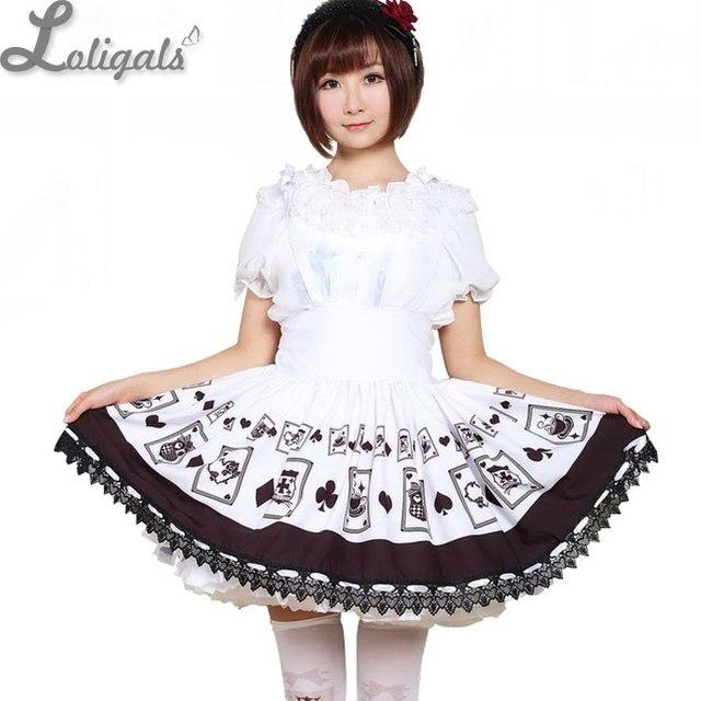 d2232d9efde Kawaii Style japonais jupe courte taille Empire Punk Poker carte imprimé  court pull Lolita jupe