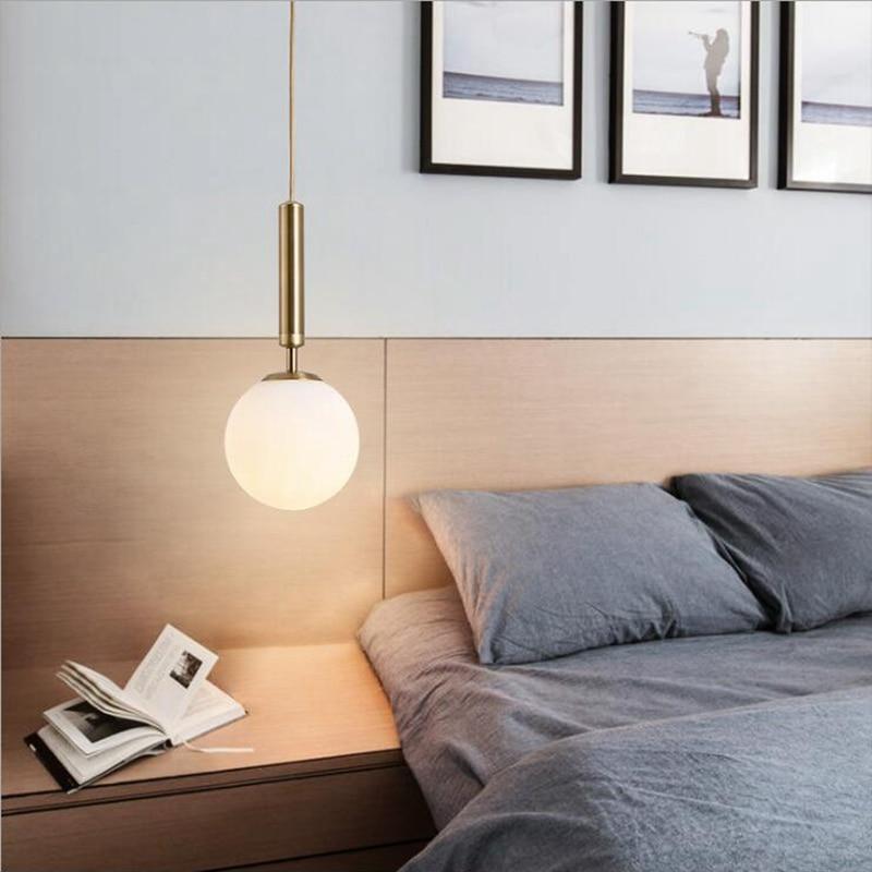 LukLoy Nordic Brass Aluminum Modern Pendant Light Loft Hanging Lamps Bedside Hanging Lamp Kitchen Glass Suspension Pendant Lamps