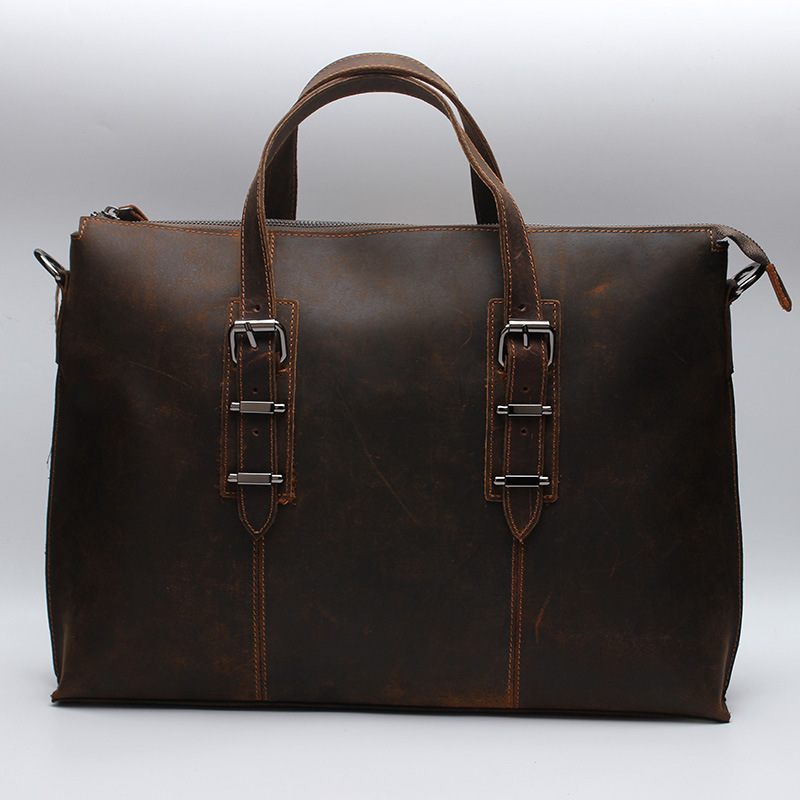 Nesitu Brown Color Vintage Crazy Horse Leather Men Messenger Bags 14 inch Laptop Man Briefcase Handbag Portfolio #M3362