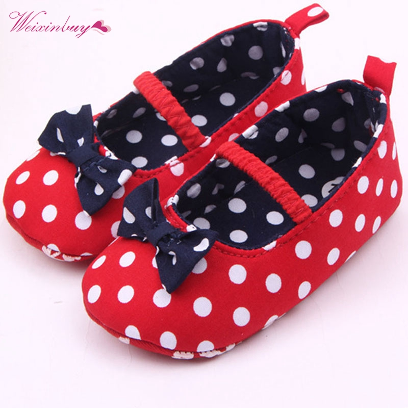 Factory Price Baby Girl Soft Sole Shoes Dots Bowknot Toddler Anti-slip Shoes Newborn Mother & Kids Baby Shoes