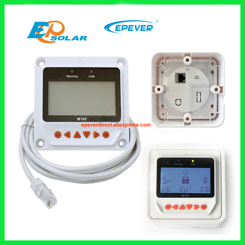 White and black color choose MT50 remote meter lcd display for solar charge controller use lcd controller for solar panel system use it4415nd power bank 45a 45amp with ble and wifi white mt50 remote meter