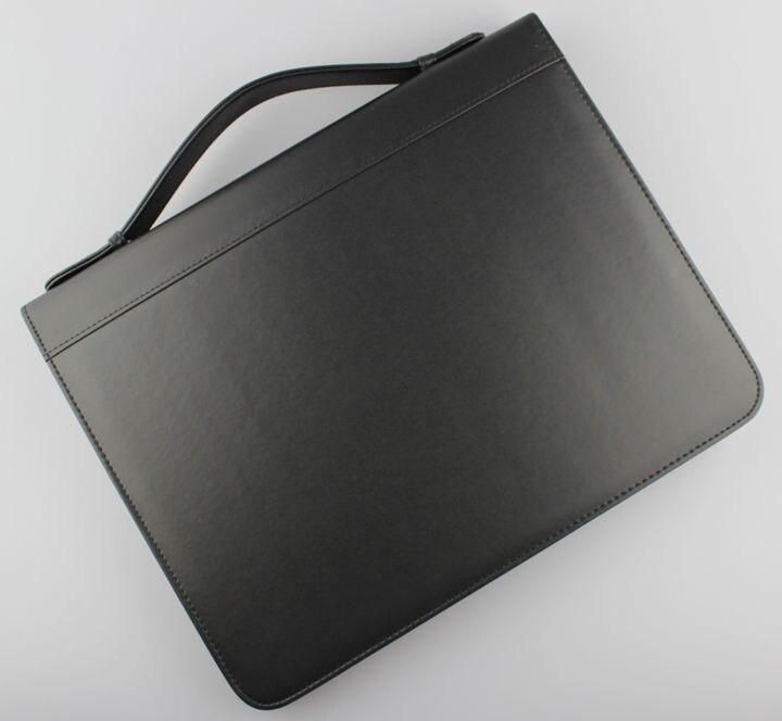 A4 Zipper PU Leather Business Manager Bag Briefcase File Document Manual Organizer Portfolio Handbag Ring Binder With Handle 487