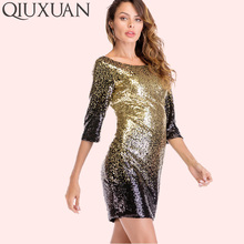 QIUXUAN Sexy Clubwear Mini Dress Women Bodycon Sequin Dress Summer Fashion  Scooped Back Three Quarter Sleeve 731dd6b48bd2