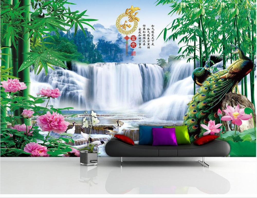 3d room wallpaper custom mural non woven photo peacock for Custom mural painting