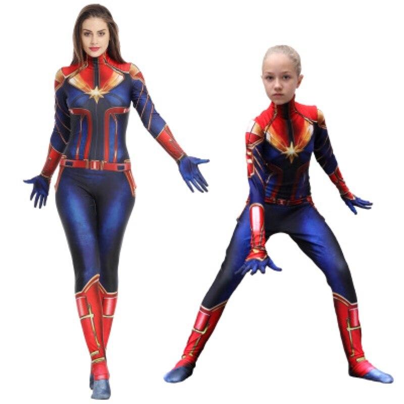 New 3D Women Girls Movie Version Captain Marvel Carol Danvers Cosplay Costume Zentai Superhero Bodysuit Suit Jumpsuits