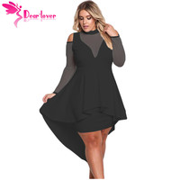 Dear Lover Long Sleeve Dress Autumn Big Ladies Party Robe Black Plus Size Mesh Trim High