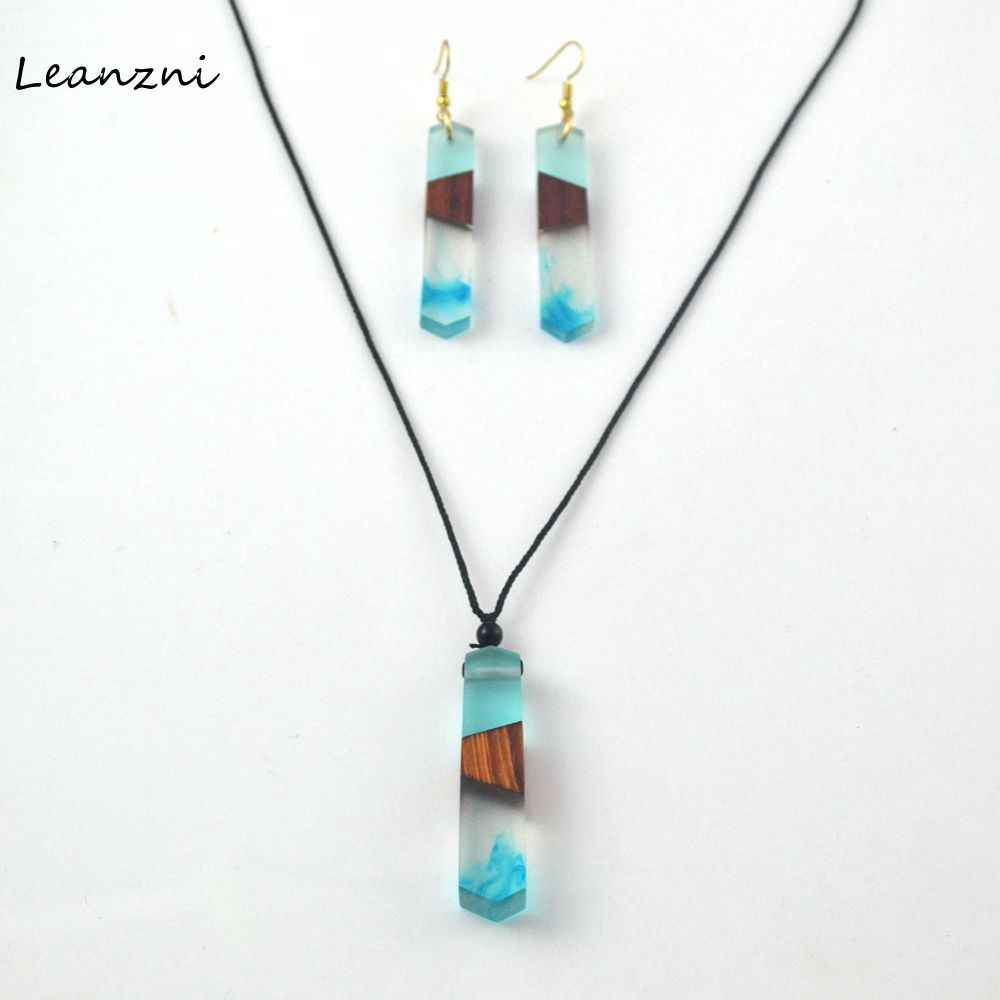 Leanzni  Hand wood resin necklace pendant suit, declare fashion jewelry, knitting rope, gifts, wholesale