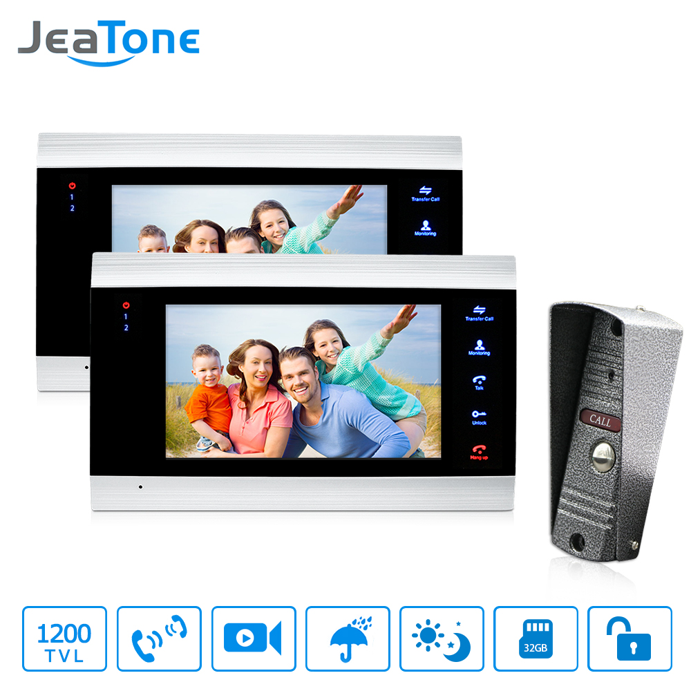 JeaTone 7 Inch Best Intercom Systems Residential Commercial Home Security Video Door Phone Kit Door Entry System Free Warranty