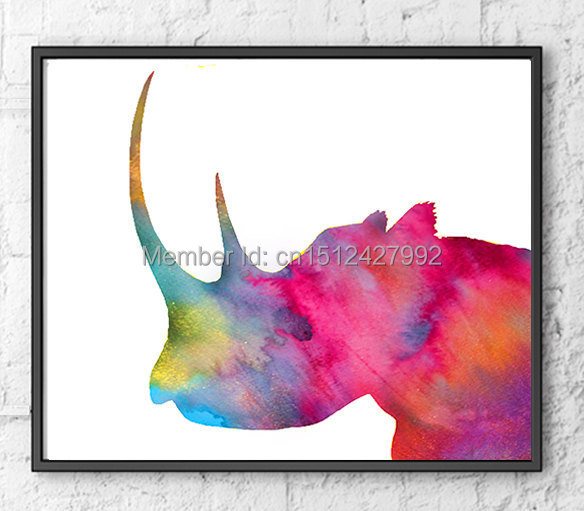Unframed Modern Home Decoration Wall art picture for living room cartoon African Animal-rhino canvas Print painting canvas art