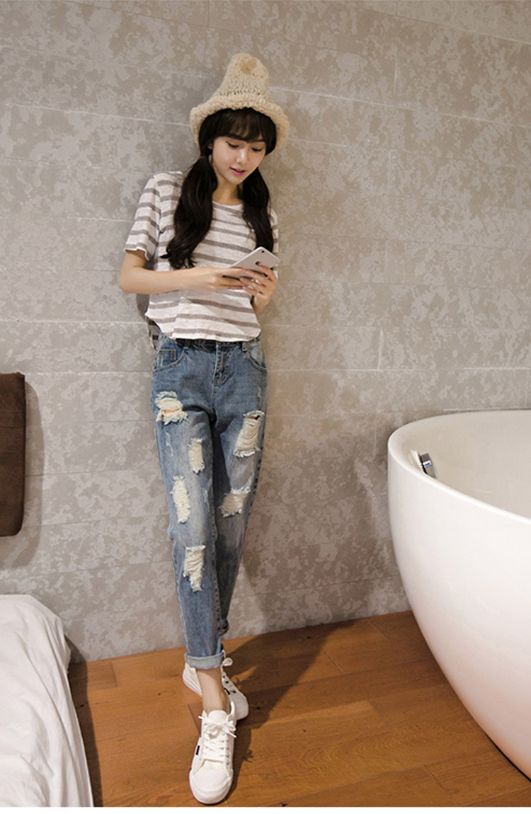 90s fashion ladies ripped hole jeans casual sexy slim loose feminine