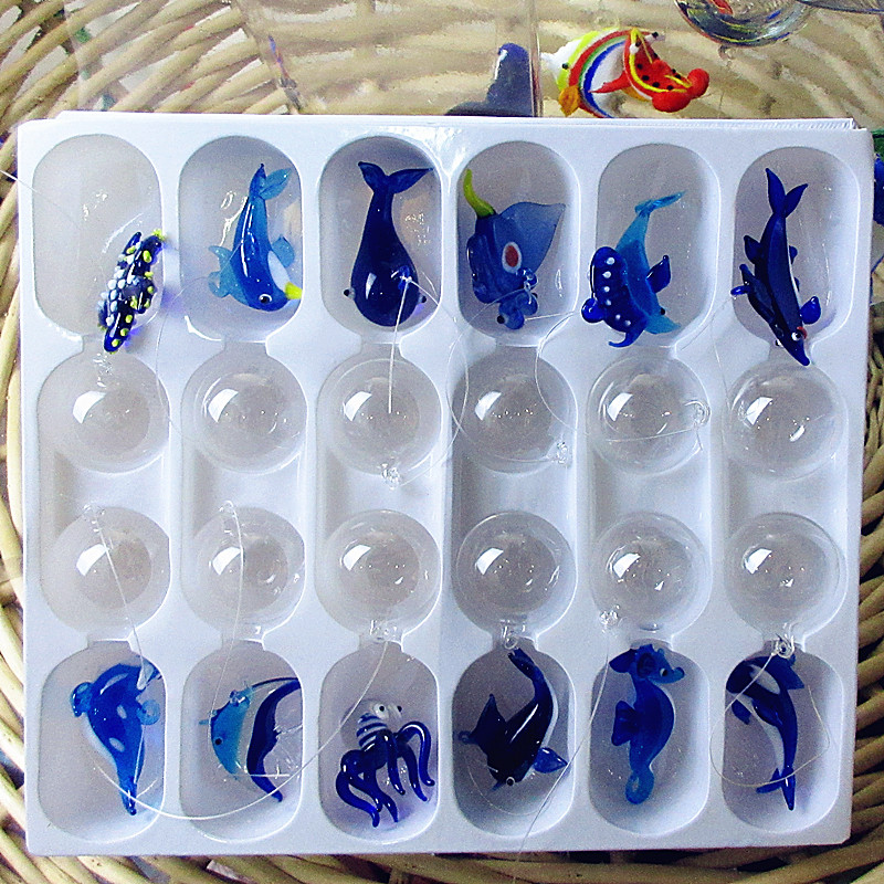 Custom Hand Blown Floating Glass Fish,sharks,dolphins,whales,sea Lions,octopus,starfish Figurines Aquarium Glass Animal Statues
