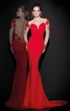 Red sexy long sleeve mermaid appliques lace evening dress 2015 elegant sweetheart chiffon formal women party dresses MT_071