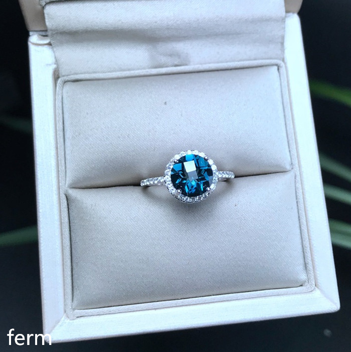 KJJEAXCMY boutique jewelry 925 sterling silver inlaid natural London Blue Topaz round jewelry ring for women