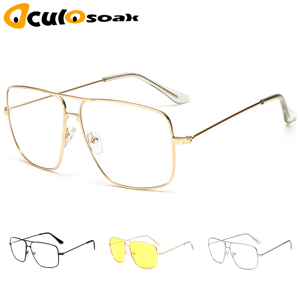 Hot Original Fashion Oculos Metal Oversized Square Eye Glasses Frame Women Vintage Ladies Sunglasses Men Transparent Eyewear