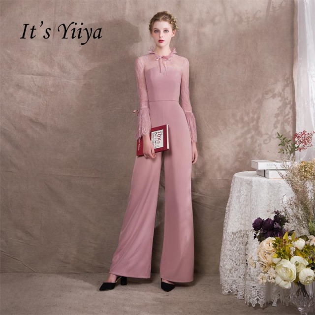 It S Yiiya Pink Ruffle Illusion Lace Long Sleeves Zipper Party Dress Elegant Jumpsuit Formal Pant Suit