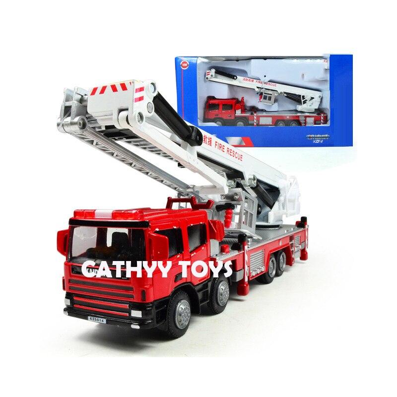 1:50 haute simulation camion de pompiers alliage ingénierie véhicules en métal échelle de feu escalade voiture pour enfants cadeaux d'anniversaire