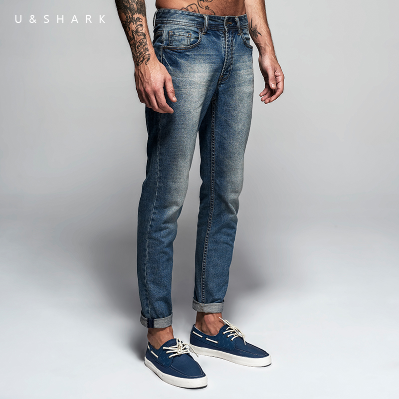 U&SHARK Spring New Light Blue Skinny   Jeans   Pants Men Brand Clothing Fashion Denim Pants Slim Fit Quality Casual Trousers Male