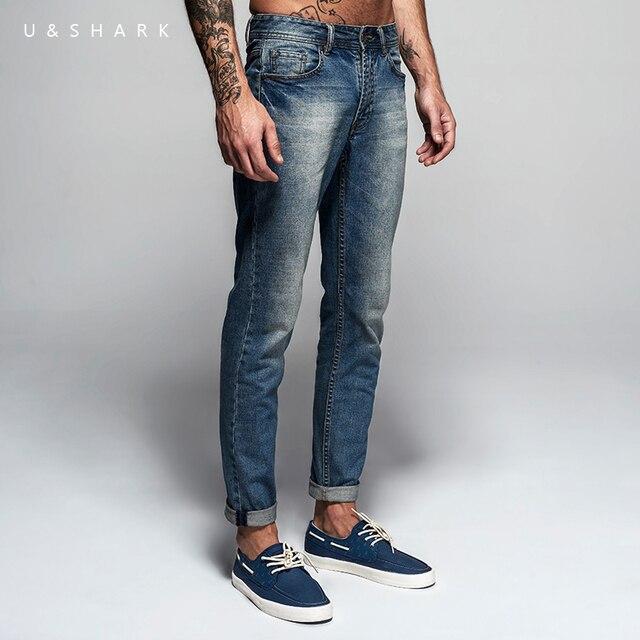 469554b7a053e € 26.28 50% de réduction|U & requin printemps nouveau bleu clair Skinny  Jeans pantalon hommes marque vêtements mode Denim pantalon Slim Fit ...