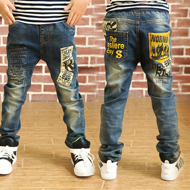 "New Year Boys Jeans 2016 Winter Jeans Kids ""Pants"" Cartoon Pettern Print Design Children 's Denim Trousers Kids Dark Blue Pants"