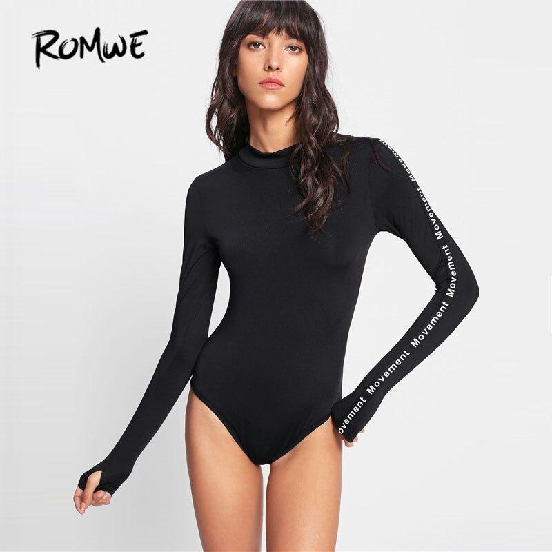 ROMWE Black Printed Tape Applique Bodysuit 2018 Spring Letter Stand Collar Long Sleeve Plain Sexy Top Women Skinny Bodysuit