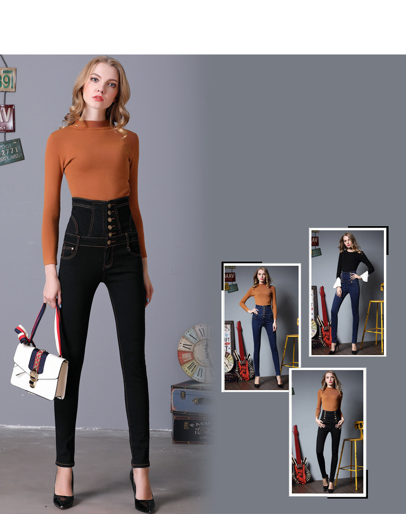 2017 New Women s fashion high waist pencil trousers Drawstring skinny denim career vintage pants female