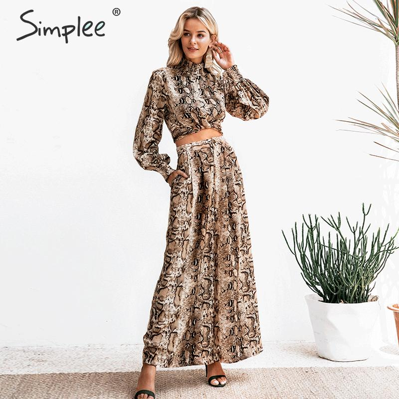 Simplee Snake Print Women Jumpsuit Romper Long Sleeve Casual Co-ordinates Ladies Romper Fashion Party Wear Long Overalls 2019