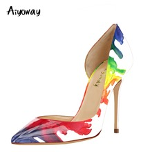 Pointed Toe High Heel Pumps Multicolor Stiletto Aiyoway Women Shoes Ladies Autumn Spring Party Shoes Sexy Thin Heels Slip-On