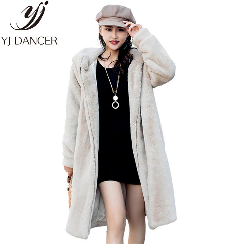 Feminine Fur Coat 2018 Autumn And Winter New Imitation Fur Lengthy Coat Free Hooded Heat Fur Coat Thickening Feminine H0193