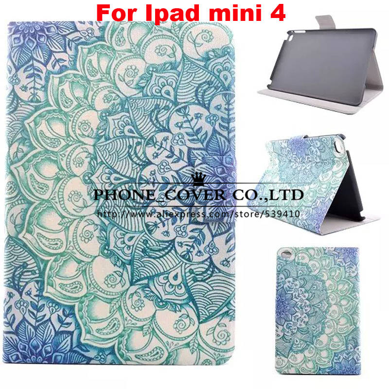 Fshion cartoon pattern Smart Stand pu Leather case cover for apple iPad mini 4 Tablet protect case + screen protectors+stylus for apple ipad air 2 pu leather case luxury silk pattern stand smart cover