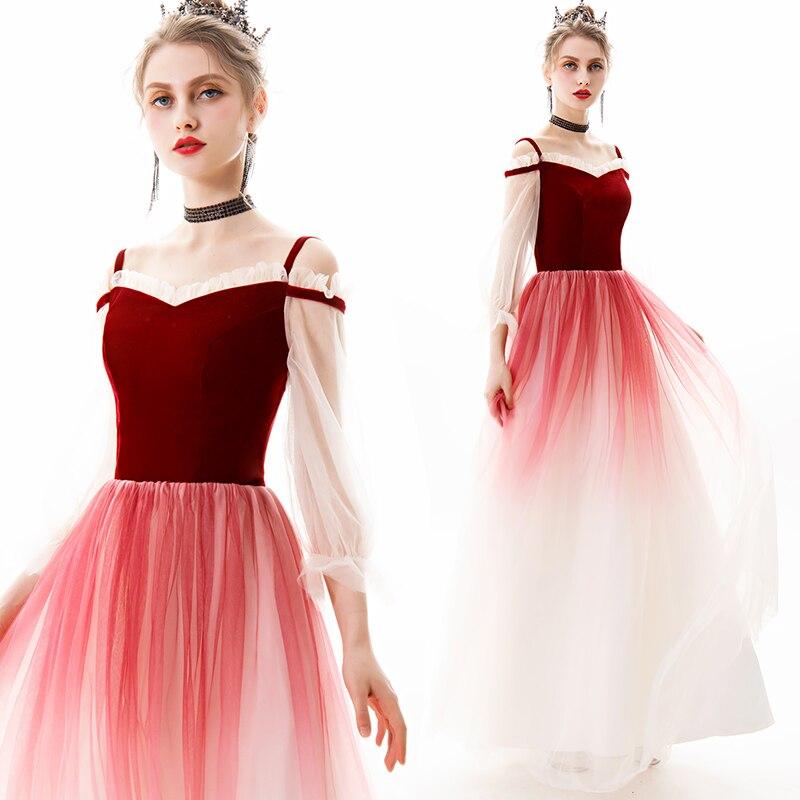 SSYfashion Boat Neck Strap Off The Shoulder 3/4 Sleeves Velvet Tulle Floor Length Long Evening Gown Formal Dress Women Elegant