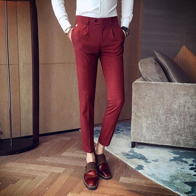 Aliexpress.com : Buy 2017 Red Dress Pants Mens Grey Mens Formal ...