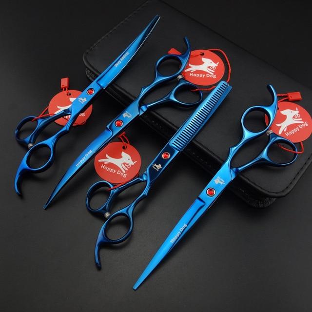 7″ Professional Pet Grooming Scissors set,Straight + Thinning + 2 Curved scissors 4 pcs set,D701