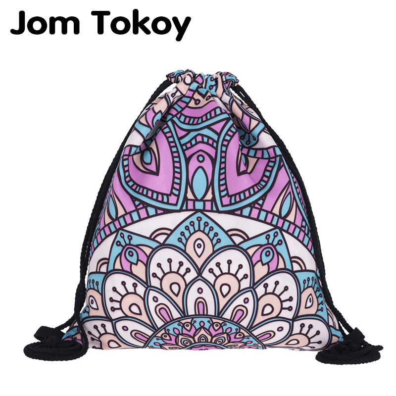 New Fashion Women Mandala Backpack 3D Printing Travel Softback Women Mochila Drawstring Bag