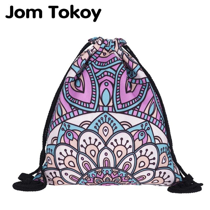 New Fashion Women Mandala Backpack 3D Printing Travel Softback Women Mochila Drawstring Bag