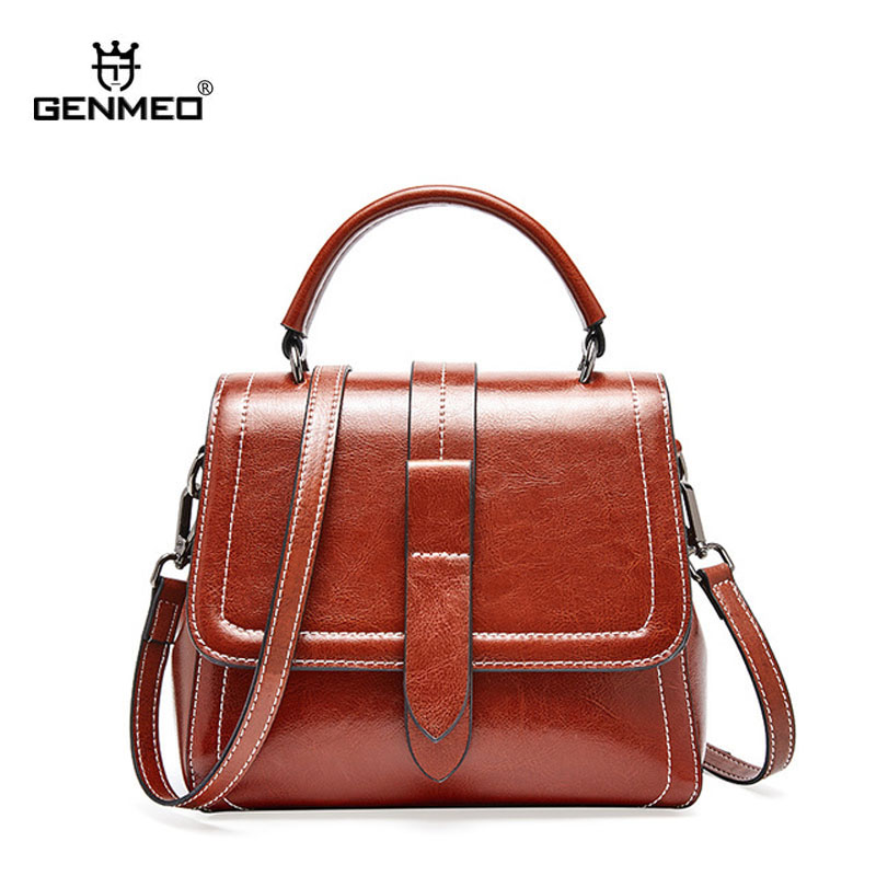 GENMEO Famous Designer Oil Wax Genuine Leather Shoulder Bag Cow Leather Handbag with Shoulder Strap Tote Bag Feminina Bolsa in Shoulder Bags from Luggage Bags