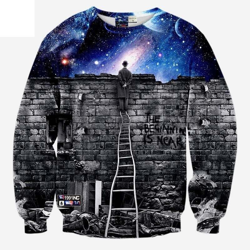 Модная одежда Для мужчин/wo Для мужчин кофты 3D принт человек просмотра пространства метеоритный дождь Повседневная Galaxy толстовки плюс s-5XL r499