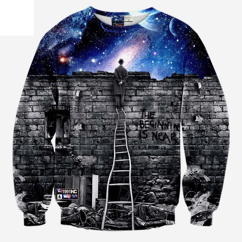 Fashion Clothes Men/womens sweatshirts 3d print A person watching space Meteor shower casual galaxy hoodies Plus S-5XL R499