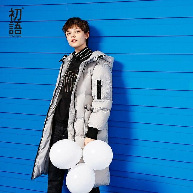 Toyouth пуховые пальто 2017 зимние женские с буквенным принтом однотонные Длинные теплые с капюшоном белые пуховики на утином пуху