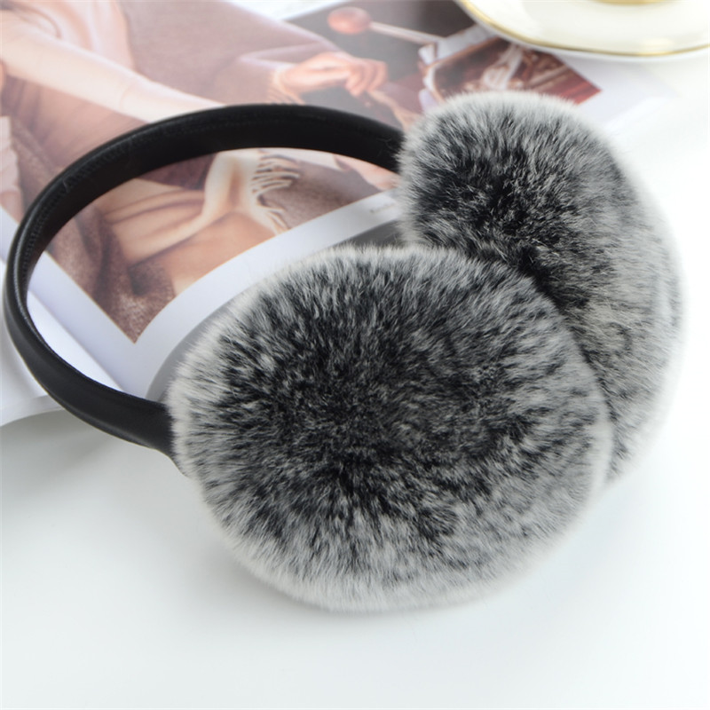 Natural 100% Rex Rabbit Fur Earmuff Men Warm Fashion Women Russia Winter  Real Fur Earmuffs Kids Fur Ear Cover Girl's Earlap