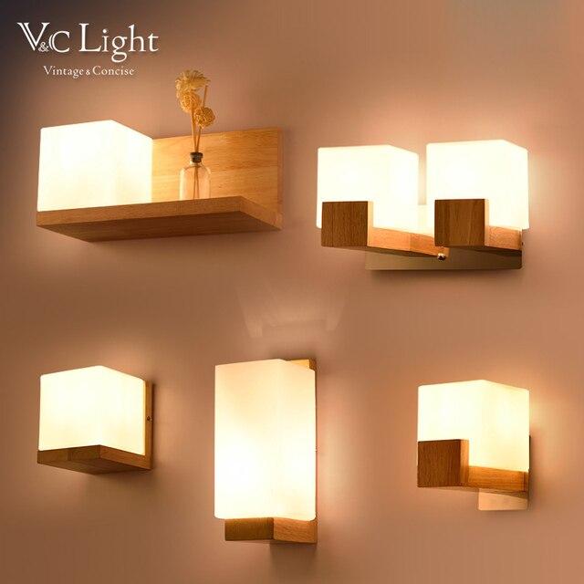 Wandleuchten Wohnzimmer   Vc Moderne Nordic Off White Led Wandleuchten Fur Eichenholz Licht