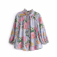 Floral Printed Boho Blouse 2018 Spring Summer Women S Gpsy V Neck Chic Beach Holiday Long