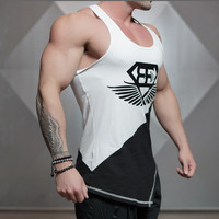Vest leisure fitness 2016 new foreign trade selling high quality cotton color matching summertime fitness men's vest S-XL